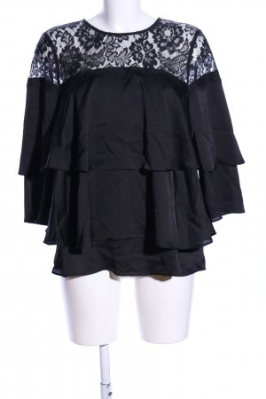 Amy Vermont Rüschen-Bluse schwarz Elegant