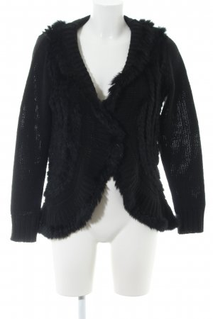 Amy Vermont Cardigan black cable stitch casual look