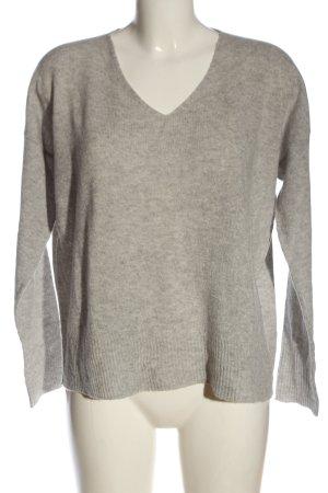 Amy Vermont Maglione con scollo a V grigio chiaro puntinato stile casual