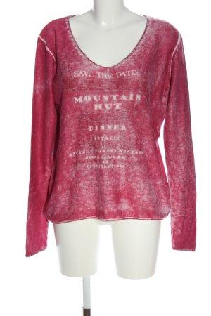 Amy Vermont V-Ausschnitt-Pullover pink-wollweiß Schriftzug gedruckt Casual-Look