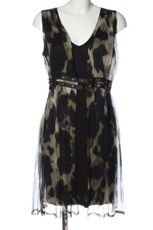 Ana Alcazar Szyfonowa sukienka czarny-w kolorze białej wełny Wzór w lwa