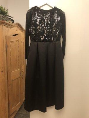 Ana Alcazar Vestido de noche negro tejido mezclado