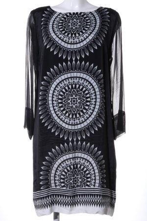 Ana Alcazar Robe chemisier noir-blanc motif graphique style décontracté