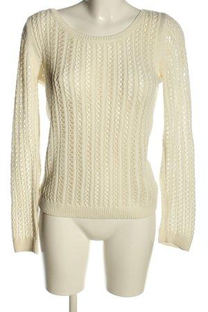 Ana Alcazar Jersey de ganchillo blanco puro look casual
