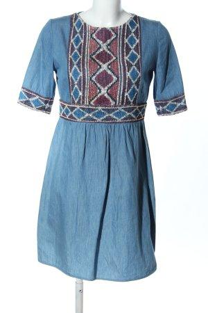 Ana Alcazar Jeanskleid blau grafisches Muster klassischer Stil