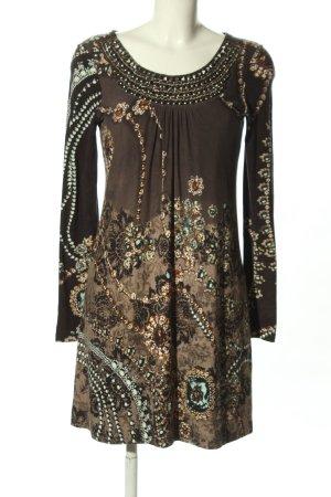 Ana Alcazar Robe en jersey noir-brun imprimé allover style extravagant
