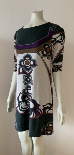 Ana Alcazar Robe à manches longues blanc-vert foncé