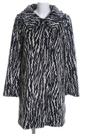 Ana Alcazar Cappotto in eco pelliccia grigio chiaro-nero motivo astratto