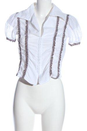 Ana Alcazar Kurzarm-Bluse weiß-braun abstraktes Muster Casual-Look