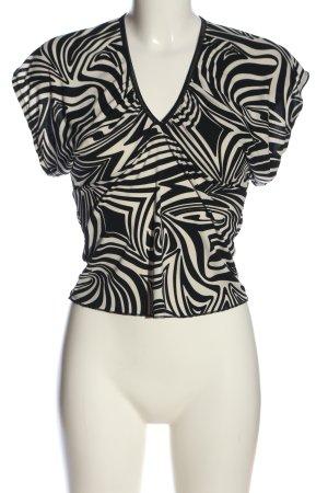 Ana Alcazar Blouse à manches courtes noir-blanc imprimé allover