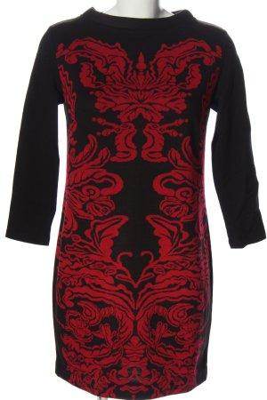 Ana Alcazar Vestido de manga larga negro-rojo estampado con diseño abstracto