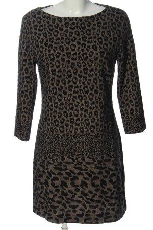 Ana Alcazar Abito a maniche lunghe nero-crema Stampa leopardata stile casual