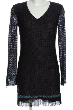 Ana Alcazar Vestido de manga larga negro elegante