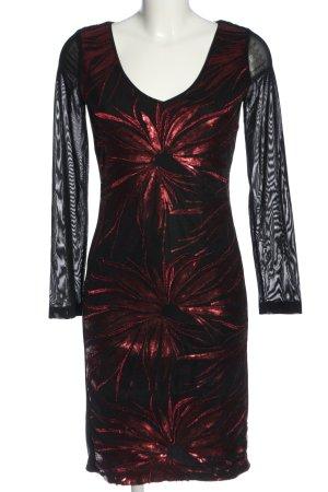 Ana Alcazar Sukienka z długim rękawem czarny-czerwony Elegancki