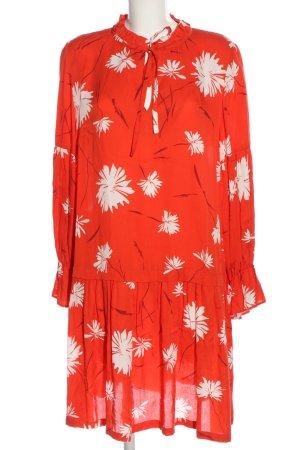 Ana Alcazar Robe à manches longues rouge-blanc motif de fleur
