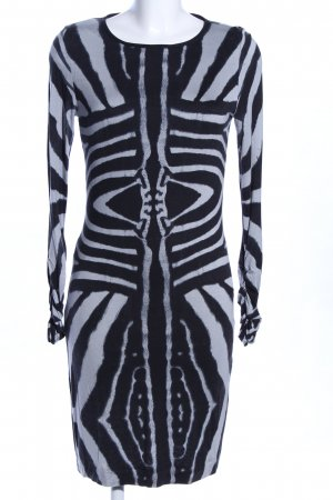 Ana Alcazar Longsleeve Dress white-black abstract pattern extravagant style