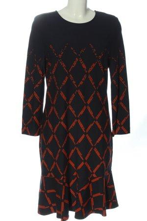 Ana Alcazar Robe à manches longues noir-orange clair imprimé allover