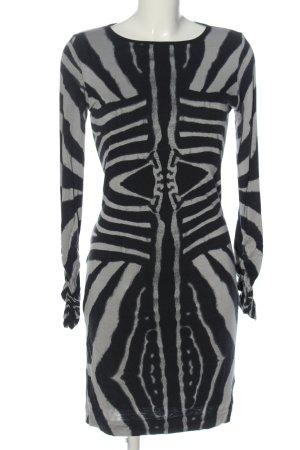Ana Alcazar Abito a maniche lunghe nero-grigio chiaro motivo astratto