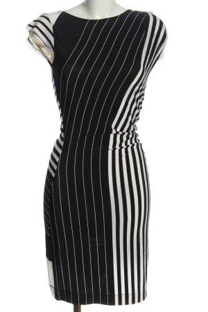 Ana Alcazar Vestido a media pierna blanco-negro estampado a rayas look casual