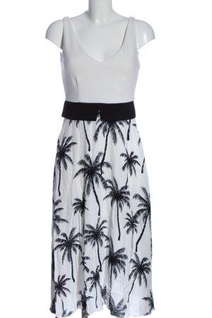 Ana Alcazar Vestido a media pierna blanco-negro estampado temático elegante