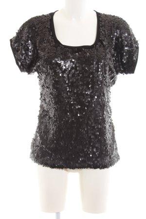 Ana Alcazar Oversized Shirt schwarz-braun Glitzer-Optik