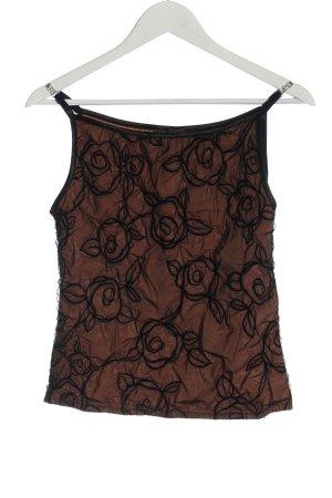 Ana Alcazar Top con bretelline marrone-nero motivo astratto stile casual