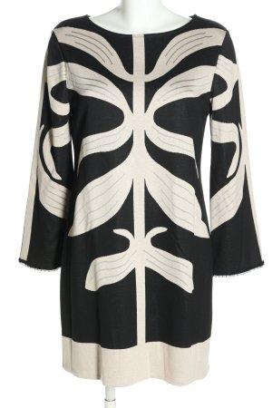 Ana Alcazar Robe stretch noir-blanc imprimé allover style d'affaires