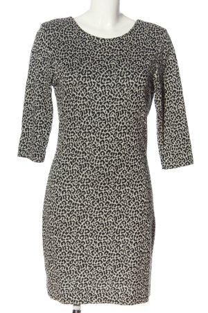 Ana Alcazar Robe en maille tricotées noir-gris clair motif léopard