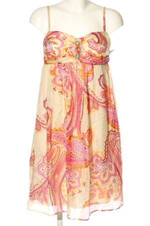 Ana Alcazar Robe à bretelles blanc cassé-rose motif graphique