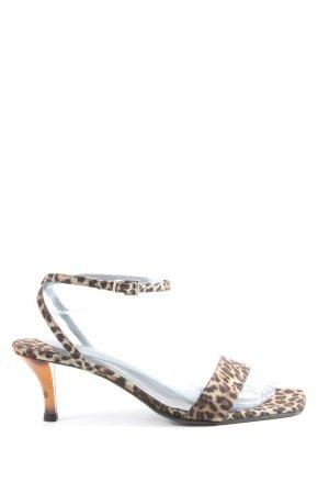 Ana Bonilla Sandalias de tacón alto marrón-crema estampado de leopardo