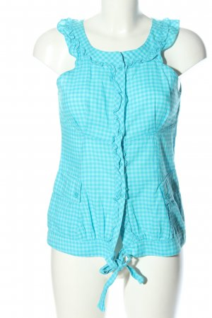 Ana Sousa Blouse Top turquoise-white check pattern casual look
