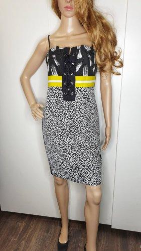 Ana Sousa Kleid 38 Designer Leo Animal Neon Schnürung schwarz weiß gelb