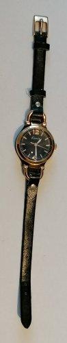 Horloge met lederen riempje zwart-goud Imitatie leer