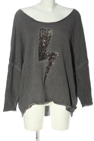 Anastacia Camicetta a maniche lunghe grigio chiaro Stampa a tema stile casual