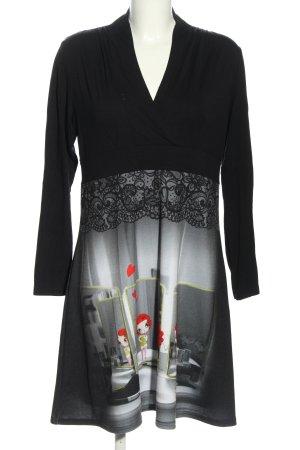 Anatopik Shirtkleid schwarz-hellgrau Motivdruck Business-Look