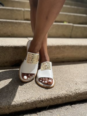 Comfort Sandals white-gold-colored leather