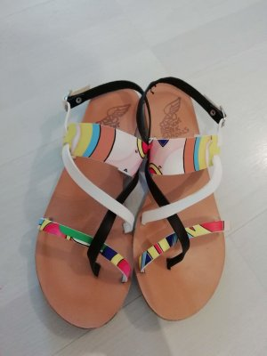 Ancient greek sandals Sandales à talons hauts et lanière multicolore