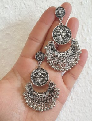 Bollywood Silver Earrings silver-colored
