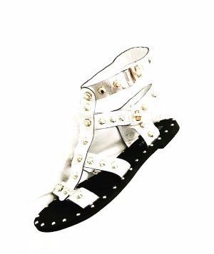 ancle sandalen • vintage • silber • gold • leder