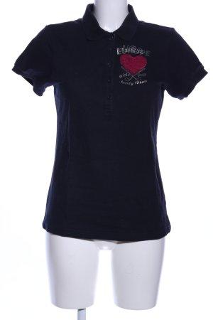 and golf with love Polo-Shirt blau Schriftzug gedruckt Casual-Look