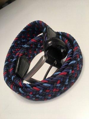 Cintura intrecciata blu-rosso scuro