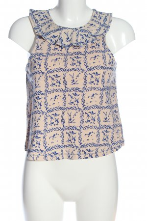AndOtherStories Sleeveless Blouse cream-blue abstract pattern casual look