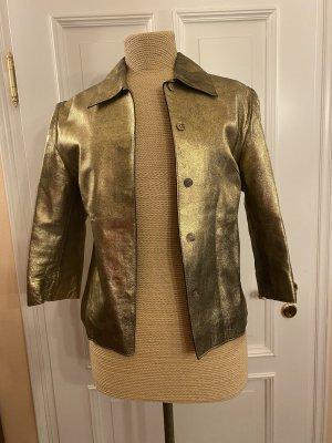 Andrea Boretti Mailand Leder Jacke gold Gr. 36