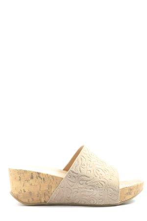 Andrea Conti Mule à talon crème motif abstrait style décontracté