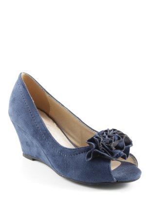 Andrea Conti Zapatos de cuña azul oscuro elegante