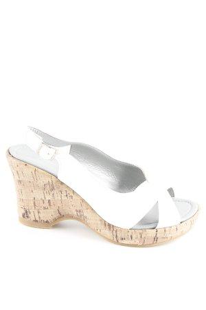 Andrea Conti Zapatos de cuña blanco-camel look casual