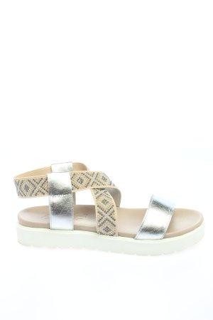 Andrea Conti Sandalias cómodas color plata-crema elegante