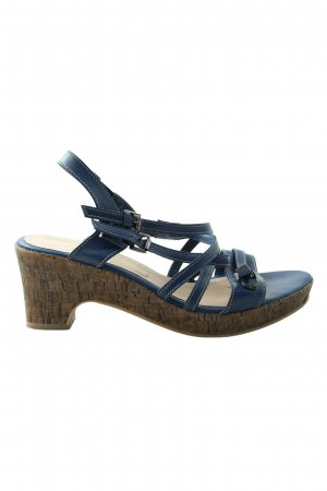 Andrea Conti Platform High-Heeled Sandal blue-brown casual look