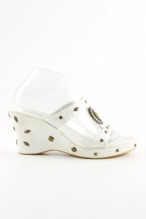 Andrea Conti Wedge Sandals white-bronze-colored casual look