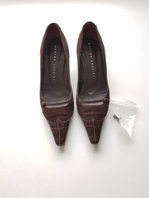 Andrea Puccini Pointed Toe Pumps dark brown leather